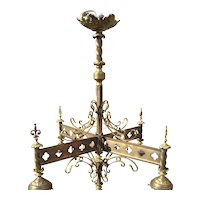 Bronze - Brass Gothic Art 4-light Chandelier