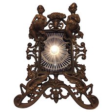Cast Iron Picture Frame with Putti -Cherub, Winged Horses