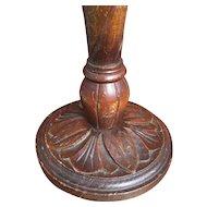 1920 Carved Oak Wood Table - Desk Lamp
