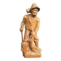 19.5 inches Carved Hunter Statue with Hare