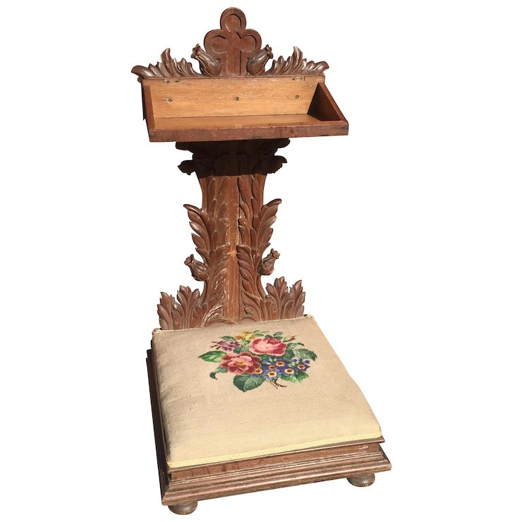 Prayer Chair Religious Gothic Church Kneeler Antique Oak - Prayer Chair Religious Gothic Church Kneeler Antique Oak : Europe