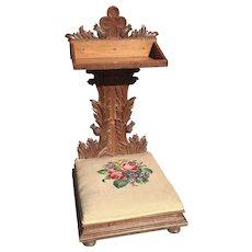 Prayer Chair Religious Gothic Church Kneeler Antique Oak