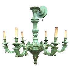 Green Colored Wooden 6 light Pendant Light
