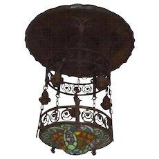 Brass - Bronze - Leaded Glass Tiffany Chandelier Pendant Lantern