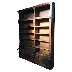 ca.1900 Large Oak Wood Bookcase with Iron Step Rod