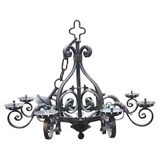 French Rustic Wrought Iron Art 8-light Castle Chandelier
