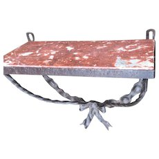 French Art Deco Wrought Iron / Marble Bracket Console