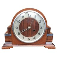 Art Deco Macassar - Oak Veneer - Chrome  8-Day Mantel Clock