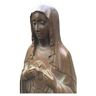 Bronze Immaculate Heart of Holy Mary Statue - Sculpture