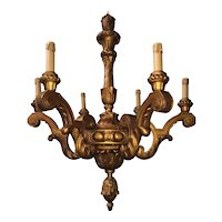 Antique Carved in Wood 6-light Chandelier