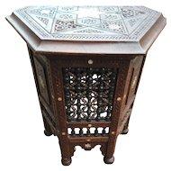 Turkish Carved Wood Moorish Table - Stand - Pedestal