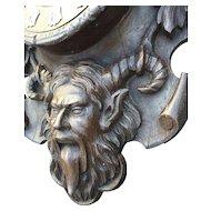 Vintage Wooden Wall Clock, Devil - Satyr Design