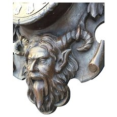 Vintage Wooden Wall Clock, Devil - Satyr Design