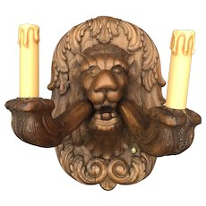 Early 1900 Rare Pair Hand-Carved Oak Lion Head Wall Sconces