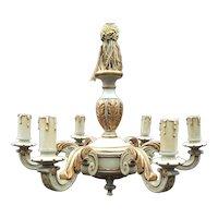 Vintage Carved - Painted Wood 5 light Chandelier