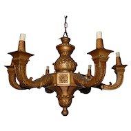 French Gilt Carved Wood 6 light Chandelier