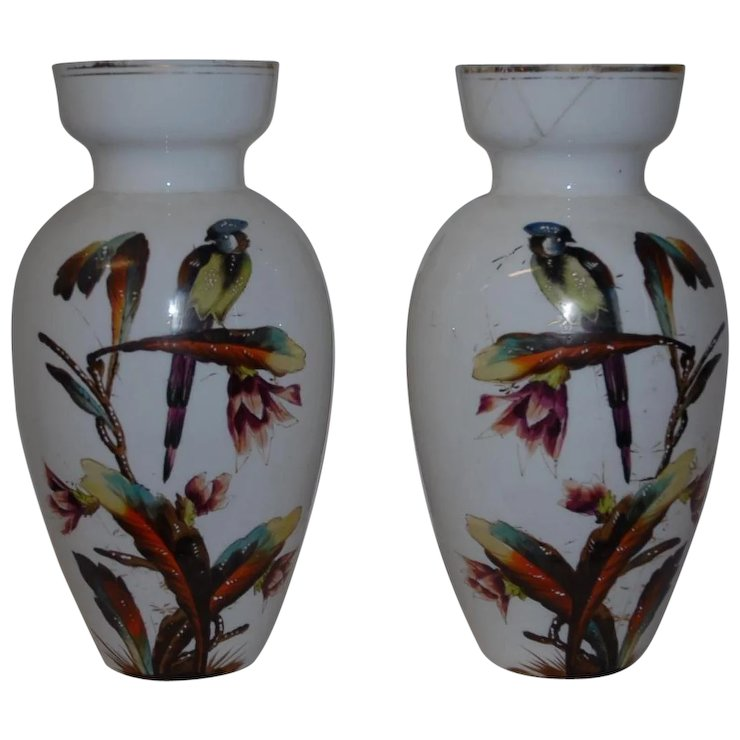 Pair Of French Painted Opaline Glass Vases 19th Century Europe