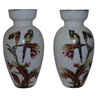 Pair of French Painted Opaline Glass Vases 19th Century