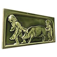 Large Vintage Tile with Gnomes and Pig