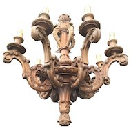 Vintage French Carved Wood Chandelier 8 arms