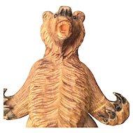 Black Forest Wooden Bear Puppet Figure
