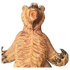 Black Forest Wooden Bear Puppet Figure