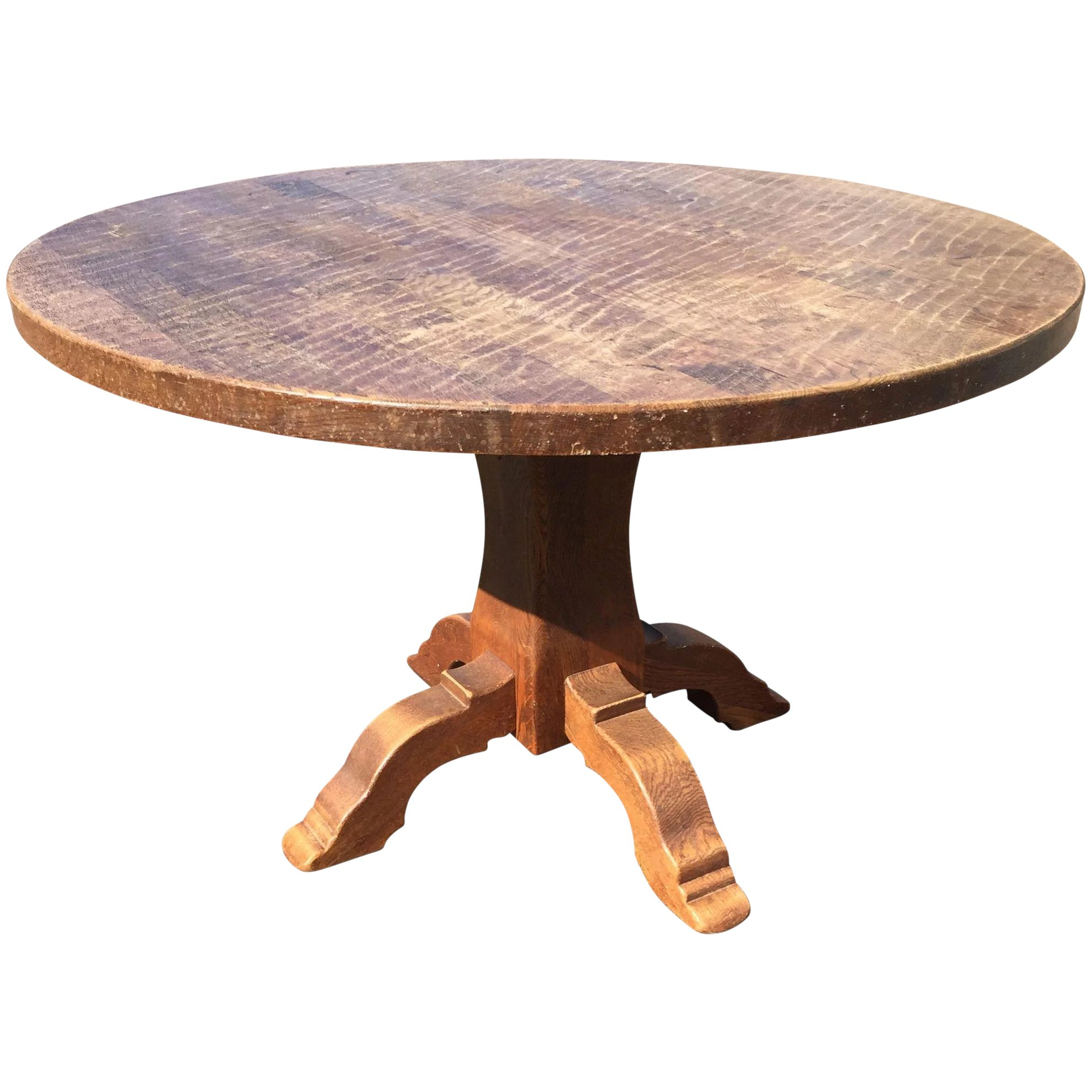 Vintage French Rustic Oak Wood Round Table Europe