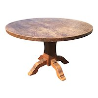 Vintage French Rustic Oak Wood Round Table
