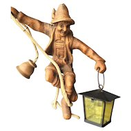Vintage Black Forest Carved Wood Mountaineer Hanging Fixture