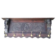Spanish Antique Hand Carved Wood Wall Coat Rack, Figural Decor