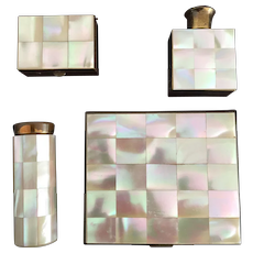 Powder Compact Perfume Pillbox Lipstick Holder Mother of Pearl