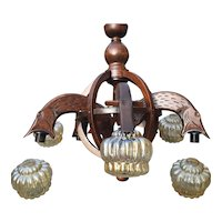 Huge Vintage Wooden Fish Chandelier