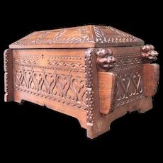 Early 1900 Wood Coffin Urn / Box w Bulldog Guards Sculpture