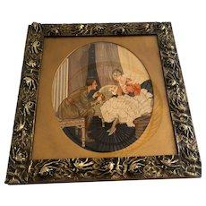 Rare Art Nouveau Floral Stylist Bronze Frame Mirror