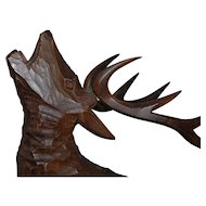 Huge Vintage Wood Art Deer - Stag Statue