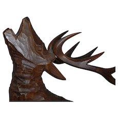 Huge Vintage Wood Art Deer - Stag Statue