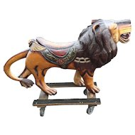Life Size Wooden Carousel Lion