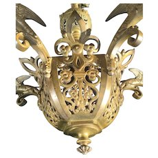 Antique Dragon Design Bronze Gothic Revival  Five Light Chandelier Fixture