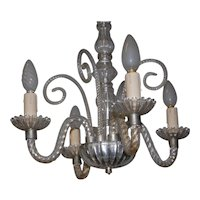 Antique 4 light Glass Chandelier