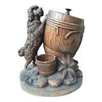 Black Forest Wood Tobacco Box Humidor Poodle Dog
