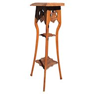 Art Nouveau 2-tier Plant Stand with Swan
