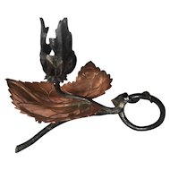 Art Nouveau Wrought Iron Leaf Candle Holder - Stick
