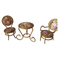 Doll House Miniature France Table Chair Set Limoges Furniture
