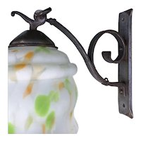 Hand forged iron wall lamp sconce