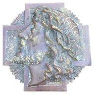 Art Deco bronze plaque of Jesus Christ