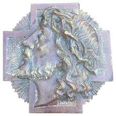 Art Deco bronze plaque of Jesus Christ