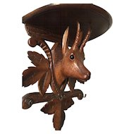 Large Black Forest Wall Bracket - Shelf or Key Rack with Chamois