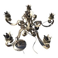 Vintage hand made wrought iron 5-light pendant - chandelier flowery design