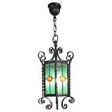 Mid 1900s French Matching Pair Of Wrought iron Ceiling Lanterns