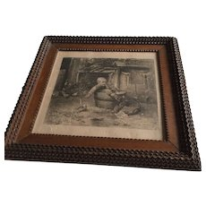 Good Size Tramp Art Wooden Picture Frame